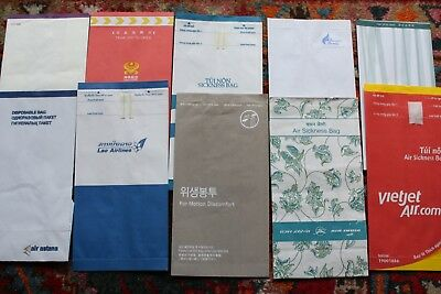 10 Asian Air Sickness Bags Air India Asiana Cathay Hainan Lao Thai Vietjet