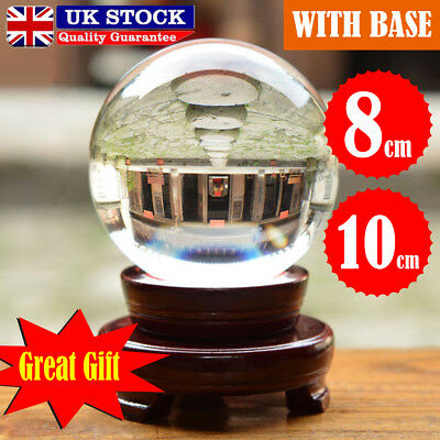 80-100mm Clear Crystal Ball K9 Photography Lens Sphere Ball Photo Decor + Holder
