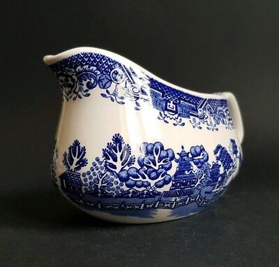 Vintage Woods Ware Willow Pattern Gravy Boat Sauce Jug Wood & Sons :C3