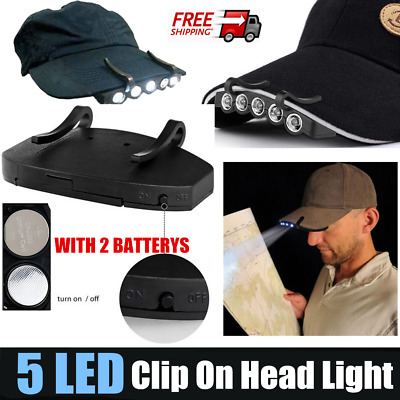 Clip-On 5 LED Head Lights Lamp Cap Hat Camping Torch w/Clip HandFree Hot  FO