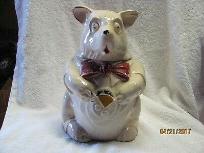 "Cookie Jar  Rare Vintage 1940's  McCoy   ""Bear""   (With Cookie in Vest)"