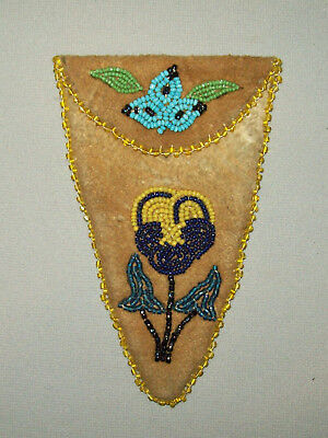 Old Antique Vtg Ca 1920s Native American Indian Beaded Leather Scissor Case Nice