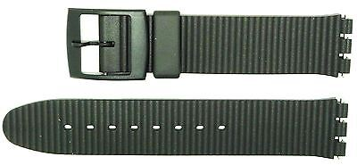 New 17mm (20mm) Size Ridged Design Replacement Strap to fit Swatch® Watch Black