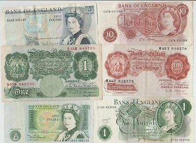 English Bank Notes,cheap Gap Fillers,five & One Pound Notes & Ten Shilling Notes