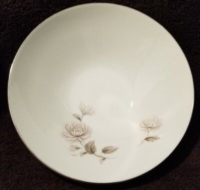 "Noritake China 8"" Round Vegetable Bowl Platinum Trim Charlotte Model 6606 Rare"