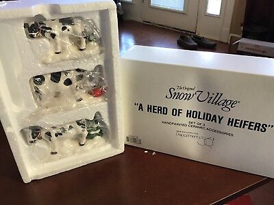 Dept 56-Original Snow Village- A Herd of Holiday Heifers- 5455-0Mint