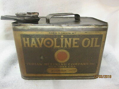 Original Early Havoline Motor Oil Gallon Squatty Can By The Indian Refining Co.