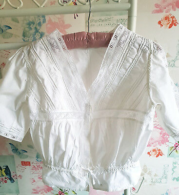 """Vintage white cotton bodice Handmade with Broderie Anglais 36"""" chest"""