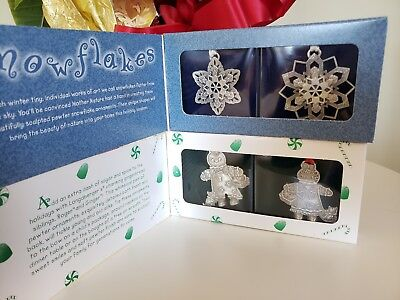 2 Sets Longaberger Pewter ORNAMENTS  Snowflakes/ Rogers & Ginger ☆  NEW!