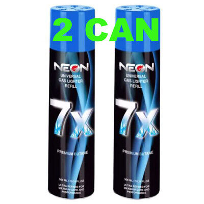 2 Can NEON 7X Filtered Butane Ultra Premium Refined Refill Lighter Can 300mL