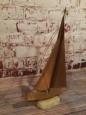 Vintage Old Brass Ship Sailing Boat Sculpture Mounted Onyx Marble John Demott