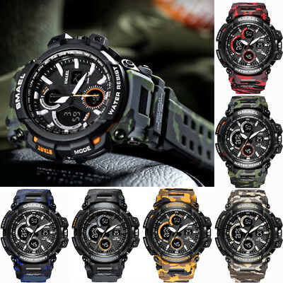 SMAEL Men Military Watches Army Digital Wristwatch LED Rubber Watch Shockproof
