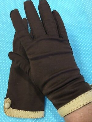 Vintage FOWNES Brown Double Woven Cotton Gloves w/ Leather Trim & Button Size 7