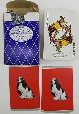 Vintage Fifth Avenue Playing Cards with Black Spaniel Dog on back w/ stamp PreOw