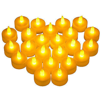 LED Tea Lights 24 Pack Flameless Tealight Candles Bright Flickering Warm Yellow