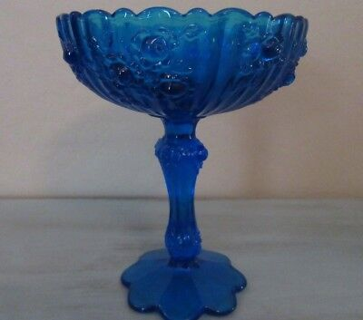 Vintage FENTON Art Glass COBALT BLUE Footed Compote Candy Dish