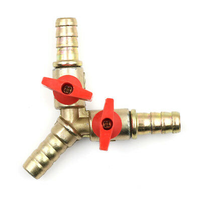 "3Way Tee Brass Y Shut off Ball Valve 3/8"" 10mm Barb Fuel Gas Oil/Valve ClampFEH"