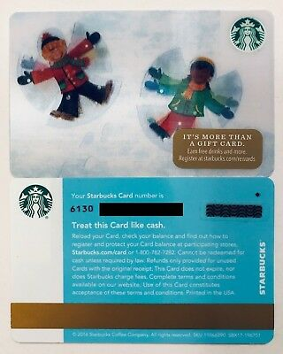 Starbucks 3-D/Hologram SNOW ANGELS Gift Card with Diamond Mark (2016)