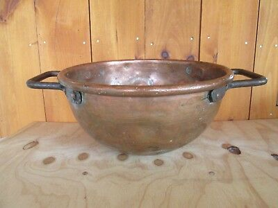 Antique Hammered Copper Candy Jelly Bowl Wrought Iron Handle Dovetail Seam 1800s