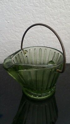 Old Vintage Coal Pail Depression Dark Frosted Green Glass with metal handle