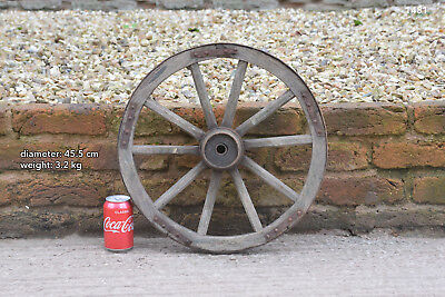Vintage old wooden cart wagon wheel  / 45.5 cm  FREE DELIVERY