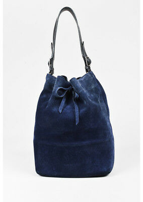 578f0168bb17  2.3k Celine Seau Blue Suede Bucket Shoulder Bag Tote with Black Leather  Accents