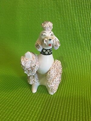 Vintage Pink Spaghetti Poodle 50's 60's Japan 24 Carat Gold Accents Rhinestones