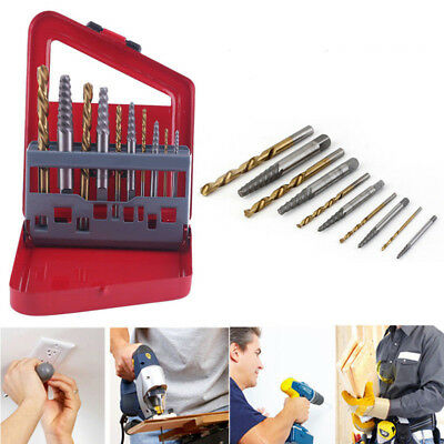 Broken Damaged Bolt Remover Speed Out Screw Extractor Drill Bits Guide Set 10x