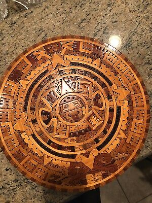 Mayan Calendar Wall Plaque 13 Mexican Wood Aztec Round