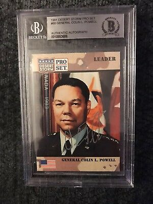 General Colin Powell 1991 Desert Storm #88 BAS Beckett Authenticated Card Signed