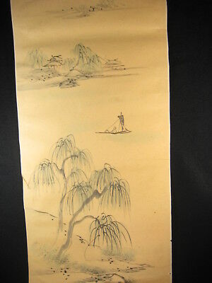 Antique Japanese 250 Yr Old Signed Water Color Scenic  Scroll