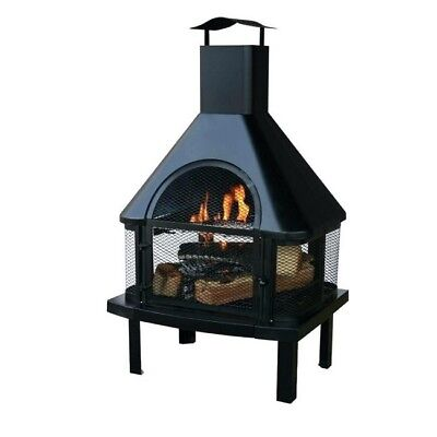Outdoor Chiminea Fireplace Wood Burning Fire Pit Patio Stove Backyard Heater