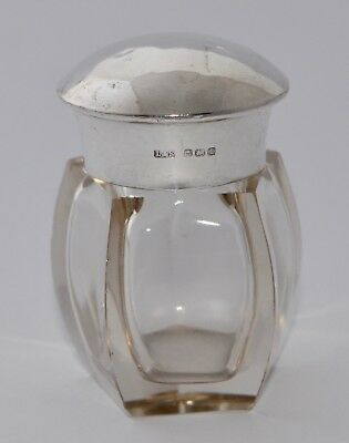1910 Sterling Silver Lidded Vanity Bottle -Levi & Salaman - Gilt Washed Interior