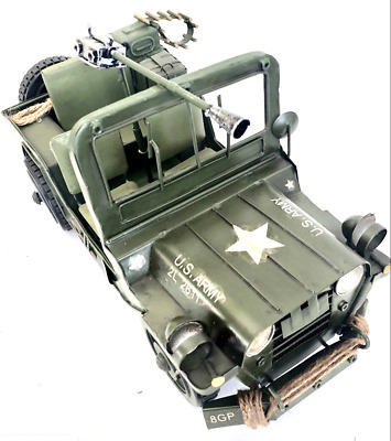 Us Army Military Jeep  Tin Toy Collectable  Large Model Pressed Metal  1:12