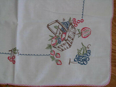 Vintage Hand Embroidered Country Kitchen Tablecloth BASKET OF FRUIT~34x34