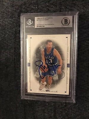 Steve Nash 1998-1999 UD SP Authentic #27 BAS Beckett Card Signed Autographed