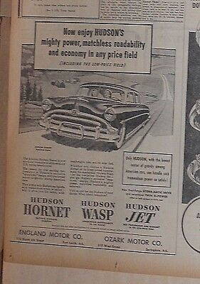 1953 newspaper ad for Hudson - Mighty Power, matchless roadability, Hornet