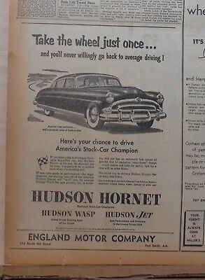 1953 newspaper ad for Hudson - Take the wheel, Chance to drive Stock Car Champ