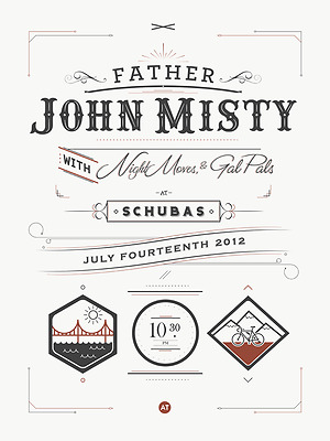 2 for 1 FATHER JOHN MISTY POSTERS CHICAGO IL SCHUBAS GIG CONCERT POSTER 7/14