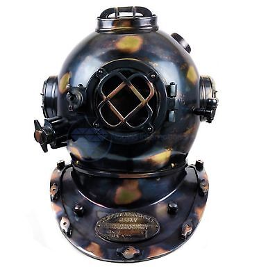 "18"" Antique Black Solid Brass Nautical Diver's Decorative Diving Wearable Helmet"