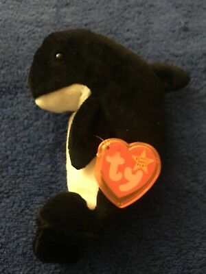 Ty Beanie Babies 1996 Waves Orca Killer Whale Tag Excellent PE