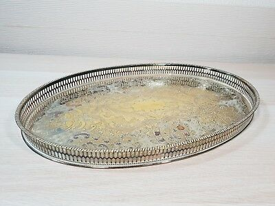 Vintage Large Viners Sheffield Silver Plated Gallery Tray Foliate Chased Pattern