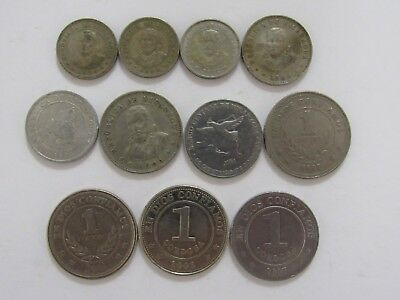 Lot of 11 Different Nicaragua Coins - 1954 to 2007 - Circulated