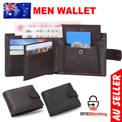 Mens Slim Wallet Genuine Leather Bifold Credit Card RFID Blocking Anti Scan Case