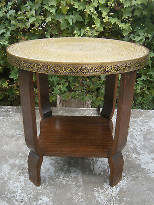 Large Deco Vintage Brass Top & Solid Bentwood Timber Occasional Table 1920-30's