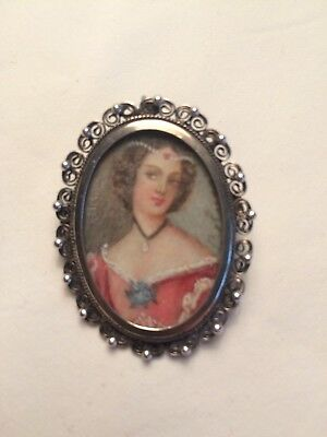 Late 19th Century European Silver (800) Hand Painted Portrait Brooch Pendant Pin