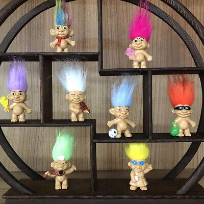 5pcs Vintage Lucky Troll Doll Mini Figures Toy for Cake Toppers Party Favors