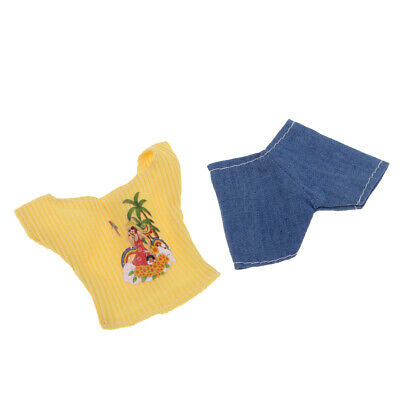 2pcs Yellow Striped Top & Shorts Set made for 12inch  Doll Accessory