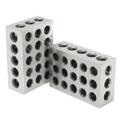 "Pair Ultra Precision 1-2-3 Blocks 0.0001"" 23 Holes Milling Machinist Steel"