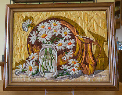 Completed Crewel Embroidery Daisies Picture Professionally Framed